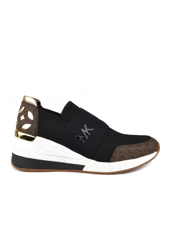 michael kors felix trainer mesh 43T8FXFS6D blk brown gold dámske topánky  tenisky čierne hnedé zlaté ( b330587a607